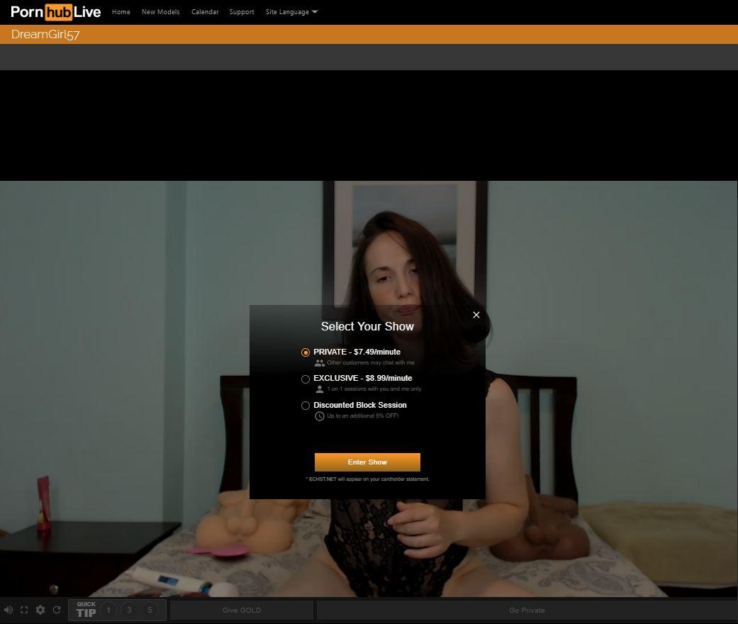 pornhub live cost